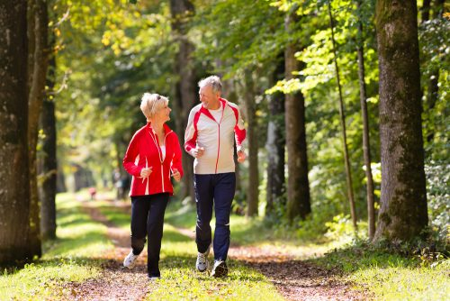 Health older man and woman running