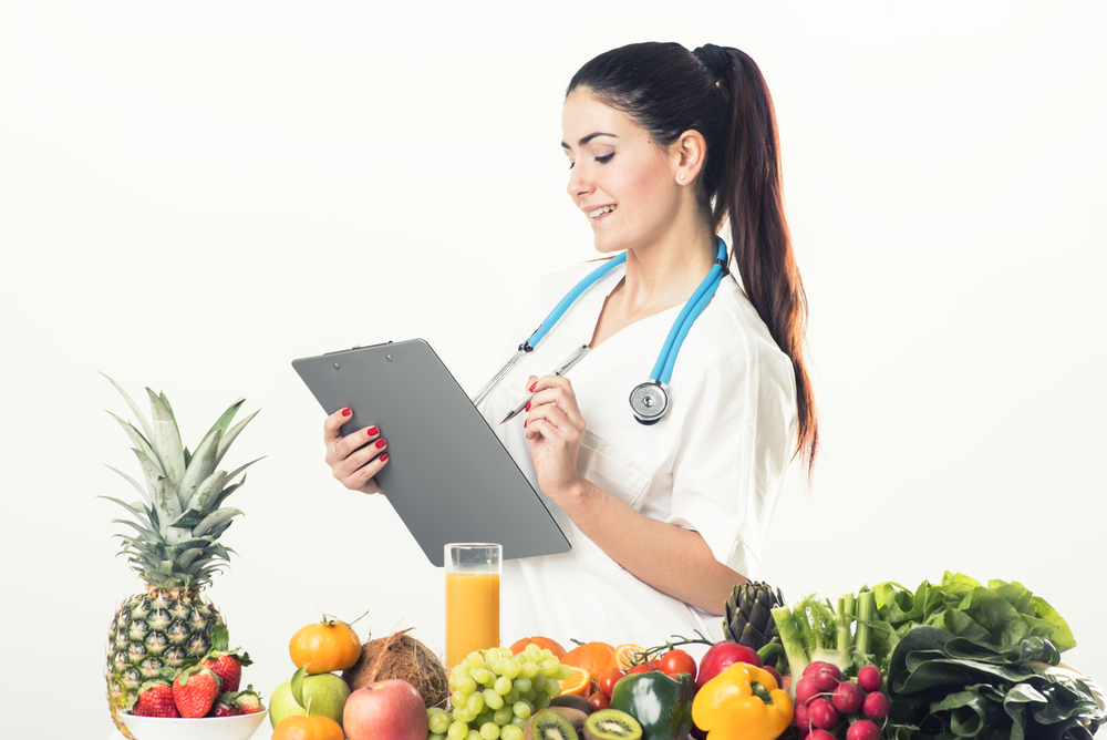 Doctor checking off healthy foods